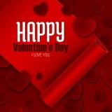 Lycklig valentin dagvykort, rött band och pappers- hjärtor, vektor Arkivfoton