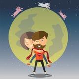 Lycklig valentin med månen Arkivfoton