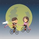 Lycklig valentin med månen Arkivfoto