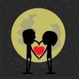 Lycklig valentin med månen Royaltyfri Foto
