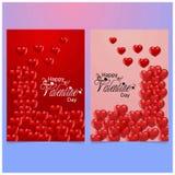 Lycklig valentin \ 's-dagkort 2018 med röd och rosa bakgrund vektor illustrationer