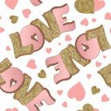 Lycklig valentin uppsättning för kort för daghälsning Förälskelse Guld och rosa färgfärger affisch tecknad handhjärta Design för  royaltyfri bild