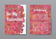 Lycklig valentindag för broschyr med röda hjärtor Royaltyfri Bild