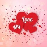 Lycklig valentindag och rensa designbeståndsdelar också vektor för coreldrawillustration Rosa bakgrund med prydnader, hjärtor Klo Royaltyfria Bilder