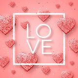 Lycklig valentindag och rensa designbeståndsdelar också vektor för coreldrawillustration Rosa bakgrund med prydnader, hjärtor Klo Royaltyfri Foto