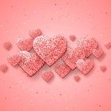 Lycklig valentindag och rensa designbeståndsdelar också vektor för coreldrawillustration Rosa bakgrund med prydnader, hjärtor Klo Arkivbilder