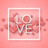 Lycklig valentindag och rensa designbeståndsdelar också vektor för coreldrawillustration Rosa bakgrund med prydnader, hjärtor Klo Arkivfoto