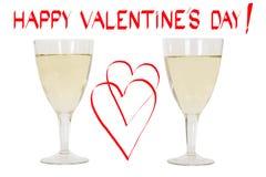 Lycklig valentindag! Och två exponeringsglas av champagne Royaltyfri Fotografi