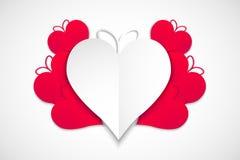 Lycklig valentindag röda och vita hjärtor med vit bakgrund, vektor stock illustrationer