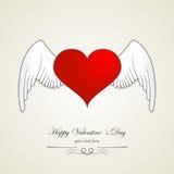 Lycklig valentindaghjärta med ängelvingar. Röd vit Arkivfoto