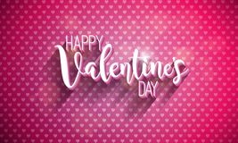 Lycklig valentindagillustration med typografibokstaven på röd hjärtatexturbakgrund Vektorbröllop- och förälskelsetema royaltyfri illustrationer