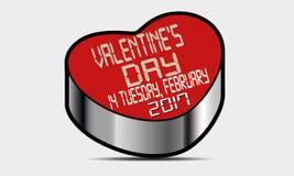 Lycklig Valentine Day Heart vektor 2017 Arkivbild