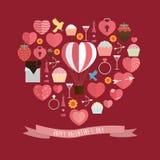 Lycklig Valentine Day symbolsuppsättning Royaltyfri Bild