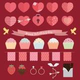 Lycklig Valentine Day symbolsuppsättning Royaltyfri Foto