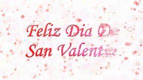 Lycklig valentins dagtext i spanska Feliz Dia De San Valentin vänder till damm från rätt på ljus bakgrund Arkivbild