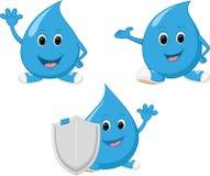 Lycklig vattendropptecknad film stock illustrationer