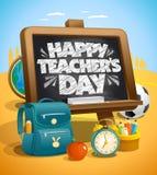 Lycklig vektor för dag för lärare` s stock illustrationer