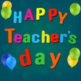Lycklig vektor för dag för ` s för lärare för ballongskolaryggsäck royaltyfri illustrationer