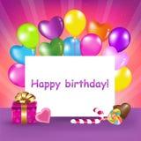 lycklig vektor för födelsedagkort stock illustrationer