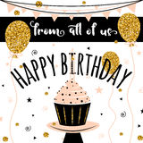 lycklig vektor för födelsedagkort Bakgrund med guld- ballonger och muffin Mall för banret, reklamblad, broschyr, gåva Royaltyfri Bild