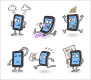 Lycklig vektor, smart telefontecknad film för upptaget arbete stock illustrationer