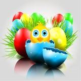 Lycklig vektorpåskbakgrund med fågelungen i brok royaltyfri illustrationer