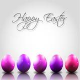 Lycklig vektorpåskbakgrund med purpurfärgade ägg vektor illustrationer