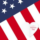 Lycklig veterandag med USA flaggaillustrationen November 11th Berömaffisch med stjärnor och band greeting lyckligt nytt år för 20 Arkivfoto