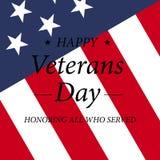 Lycklig veterandag med USA flaggaillustrationen November 11th Berömaffisch med stjärnor och band greeting lyckligt nytt år för 20 Royaltyfria Bilder