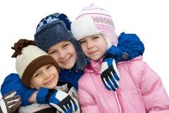 lycklig vinter för barn Arkivfoton