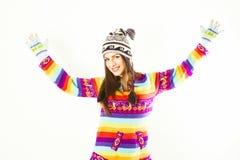 Lycklig vinterkvinna Royaltyfri Foto