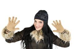 lycklig vinterkvinna Arkivbilder