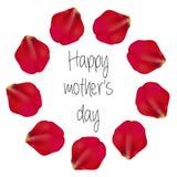 Lycklig vykort för dag för moder` s kortet eller den festliga banermallen med elegant bokstäver, löst rött steg kronblad royaltyfri illustrationer