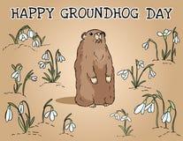 Lycklig vykort för Groundhog dag Groundhog i snödroppefältet Gullig tecknad filmgroundhogbild stock illustrationer