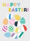 Lycklig vykort för påskägg Plan minsta vektorillustration Arkivbild