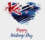 Lycklig Waitangi dag - nyazeeländsk ferie royaltyfri illustrationer