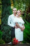 Lyckliga älska brölloppar som kramar i hösten, parkerar royaltyfri foto