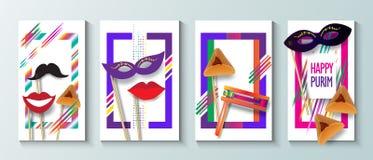 Lyckliga affischer för hälsning för Purim festivalinbjudan Royaltyfri Fotografi