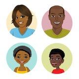 Lyckliga afrikansk amerikanfamiljavatars vektor illustrationer