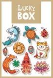 Lyckliga amuletter och lycklig symbolsamling Arkivbilder