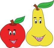 Lyckliga Apple och Pear Fotografering för Bildbyråer