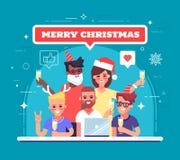 Lyckliga arbetare firar jul och nytt år Xmas-parti Illustration för hälsningkort eller baner vektor vektor illustrationer