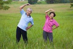 Lyckliga asiatiska höga par som gör gymnastik i parkera sunt c Arkivfoto