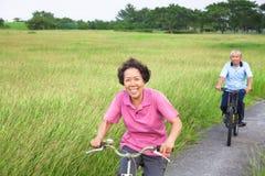 Lyckliga asiatiska pensionärer kopplar ihop att cykla i parkera Royaltyfri Bild