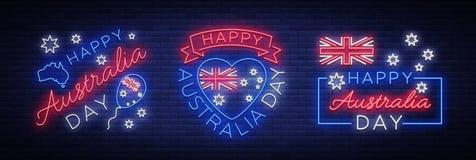 Lyckliga Australien på Januari 26, en uppsättning av festliga beståndsdelar i neonstilen Samling av neontecken, band med royaltyfri illustrationer