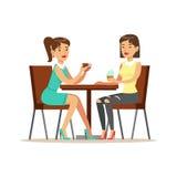 Lyckliga bästa vän som dricker kaffe i kafét, del av kamratskapillustrationserie royaltyfri illustrationer