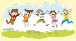 Lyckliga barn stock illustrationer