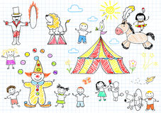 Lyckliga barn i cirkus Arkivfoto