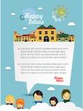 Lyckliga barn med anförandebubblan. Arkivbilder
