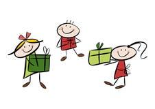Lyckliga barn med gåvor Arkivbilder